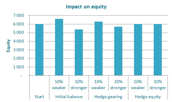 Impact on equity of different hedging strategies